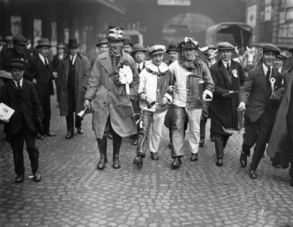 26th April 1924: A group of football supporters in London for the FA Cup Final between Aston Villa and Newcastle United at Wembley, which United won 2-0.