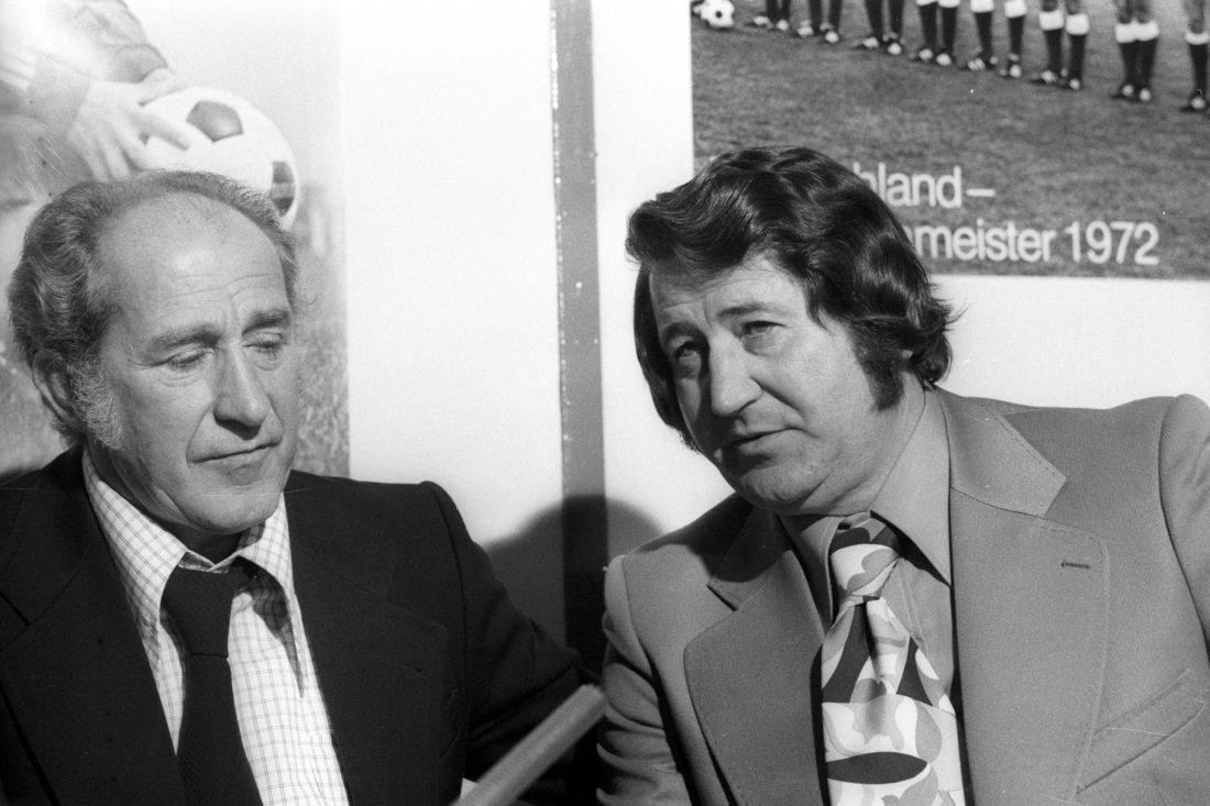 ISPO Munich 1974, Werner Liebrich (left) and Helmut Rahn, both part of the winning 1954 squad.