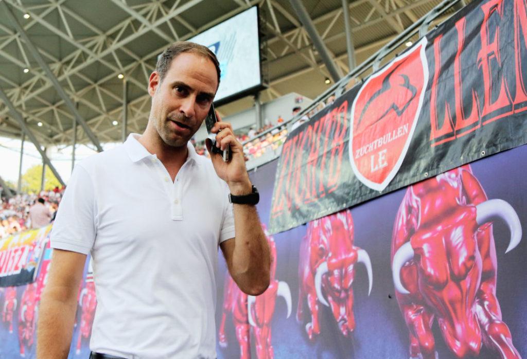 Leipzigs Geschäftsführer Oliver Mintzlaff gibt Auskunft über Timo Werner. (Photo by Karina Hessland-Wissel/Bongarts/Getty Images)