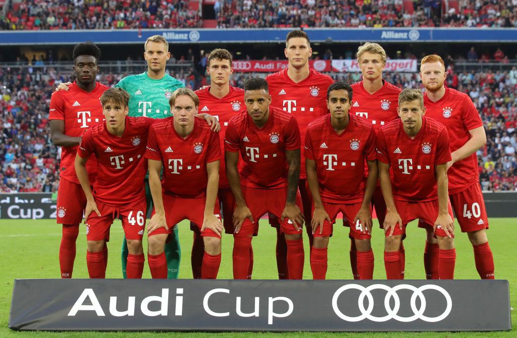 """Der ,,FC Bayern Jugend forscht"""" beim Audi-Cup-Finale 2019 gegen Tottenham Hotspur. Spieler wie Jonas Kehl (vorn, von links), Ryan Johansson, Sarpreet Singh oder Alexander Nollenberger werden die Fans in der Bundesliga sicher nicht allzu häufig sehen."""