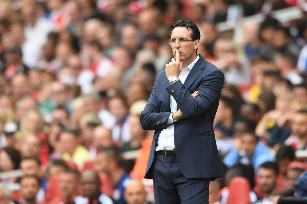 LONDON, ENGLAND - JULY 28: Arsenal manager Unai Emery looks on during the Emirates Cup match between Arsenal and Olympique Lyonnais at the Emirates Stadium on July 28, 2019 in London, England. (Photo by Michael Regan/Getty Images)