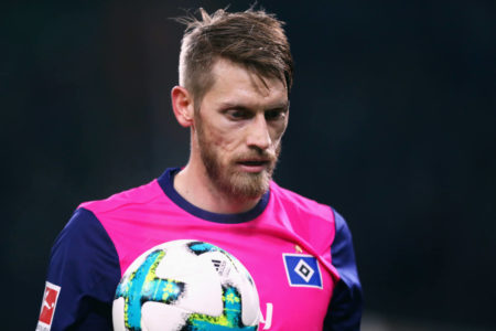 MOENCHENGLADBACH, GERMANY - DECEMBER 15: Aaron Hunt of Hamburg looks on during the Bundesliga match between Borussia Moenchengladbach and Hamburger SV at Borussia-Park on December 15, 2017 in Moenchengladbach, Germany.
