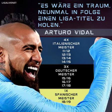 """Arturo Vidal; """"Es wäre ein Traum, neunmal in Folge einen Liga-Titel zu holen."""""""